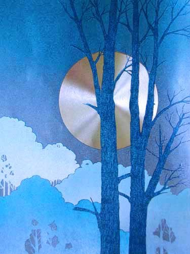 Vollmondnacht mit Baum rechts, Alubild 21x26