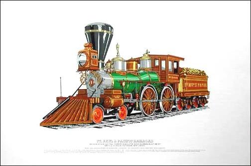 Dampflokomotive, Dampfeisenbahn vom 1861 Lithographie 40x50