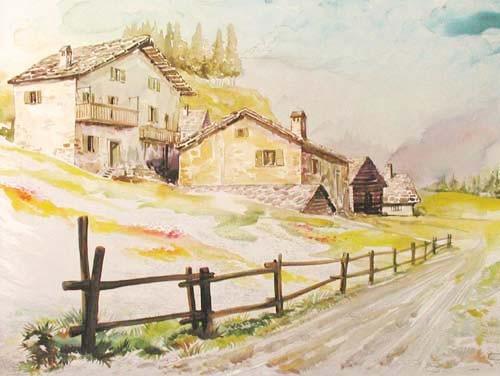 Dorfweg mit Holzzaun Aludruck