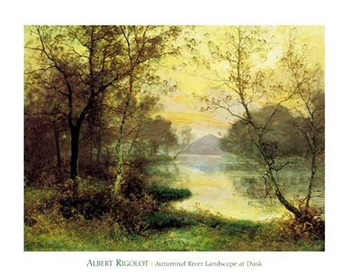 Herbstliche Flusslandschaft in Abenddämmerung - Kunstdruck 56x71 cm