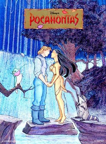 Alubild Bild Pocahontas mit John Smith vorm Wasserfall 26x21 cm