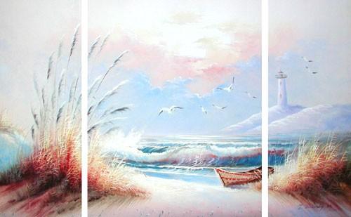 Seeblick mit Leuchtturm - Triptychon-Bild