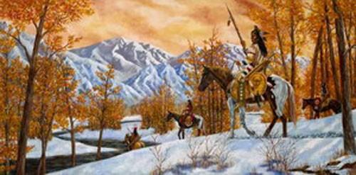 Kunstdruck 50x100 cm: Indianer im Winter