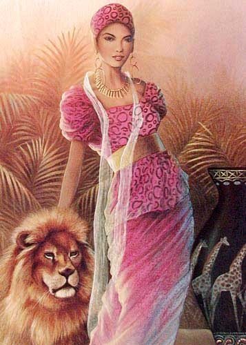 African Beauty and Lion by Chiu