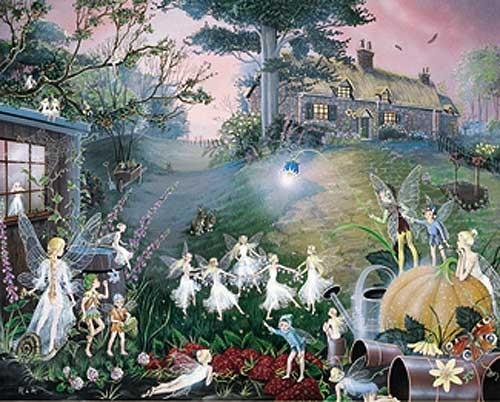 Elfen und Feen in der Gartenecke Alu Effekt Bild