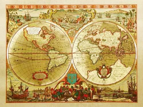 Hydrographische und geographische Weltkarte