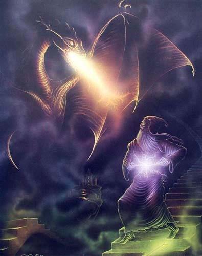 Merlin und Feuerdrache Poster 40x50 cm