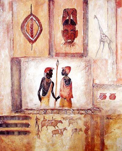 Afrikanische Kunst Abstrakt mit Maske Poster