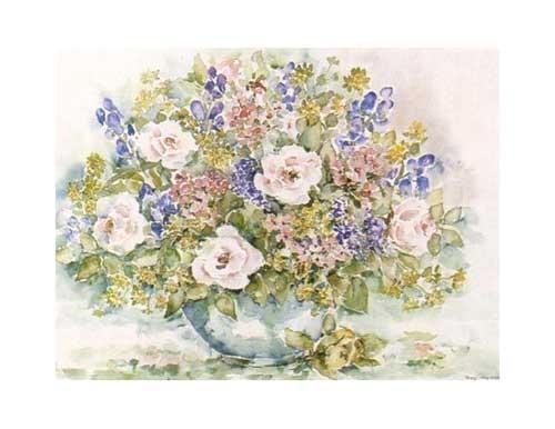 Blumenvase mit üppigem Blumenstrauß- Poster