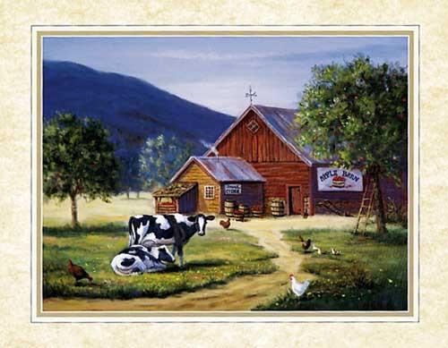 Apfelscheune von M. Caroselli Kunstdruck 20x25 cm