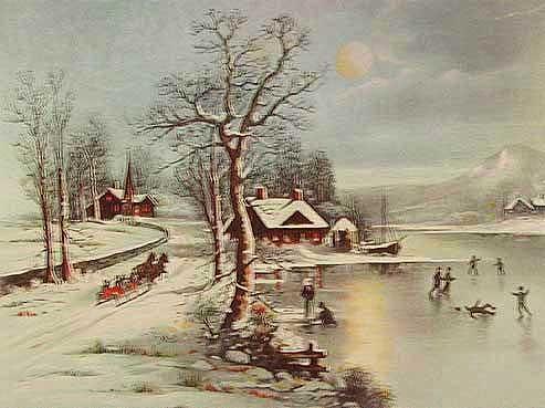 Winter im Dorf- Alu Bild 16x21