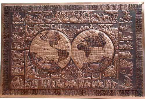 Historische Weltkarte als Kupferrelief