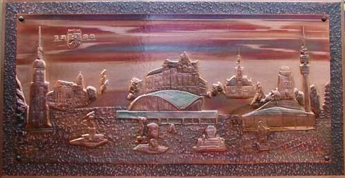 Dortmund um 1990 Kupfer-Relief- Bild