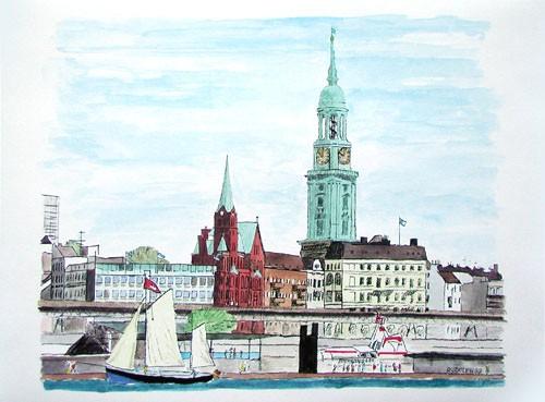 Hamburger Hafen, Michel Kunstdruck