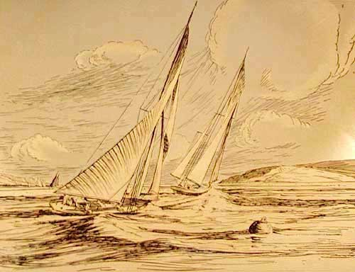 Segelboot im Querformat -goldener Alu Druck