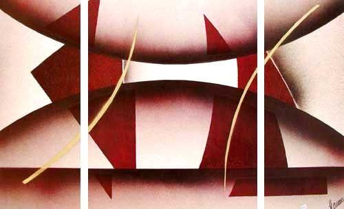 Abstraktes Bild mit Dreiecken- Triptychon Bild