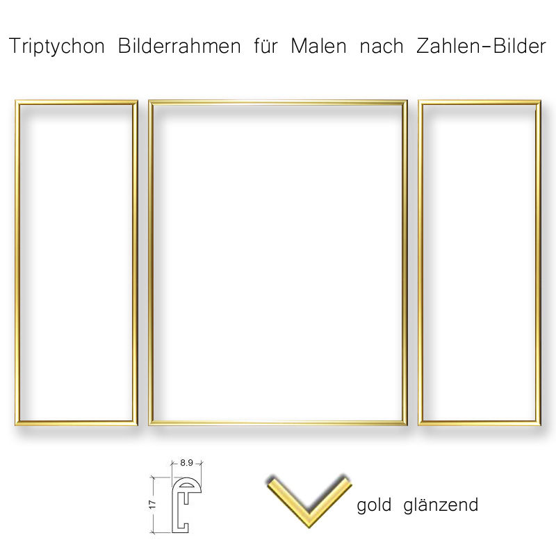 rahmen triptychon 2x 20x50 1x 40x50 gold ohne glas profil 9 mm. Black Bedroom Furniture Sets. Home Design Ideas