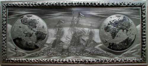 Weltkugel mit Armada - Ausschnitt
