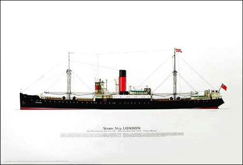 Dampfschiff London Druck