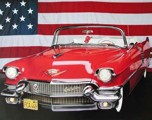 Cadillac 1934 und USA Fahne