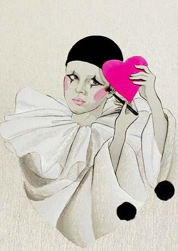 Pierrot mit Spiegel, silber