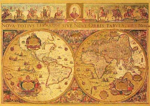 Historische Weltkarte von Blaeu, Postkarte