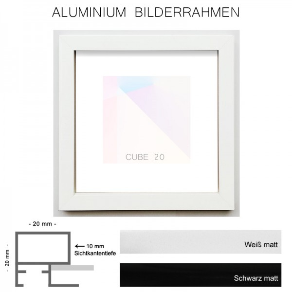 Alurahmen 90x90 cm, Cube20 mit matter Oberfläche