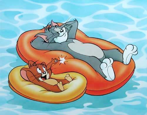 Tom und Jerry auf Luftmatratzen Poster