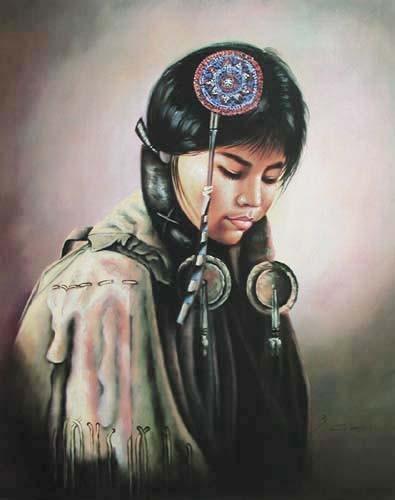 Indianerin, Hochzeitstag von S. Garcia Poster 40x50