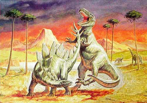Stegosaurus und Allosaurus Alu Postkarte