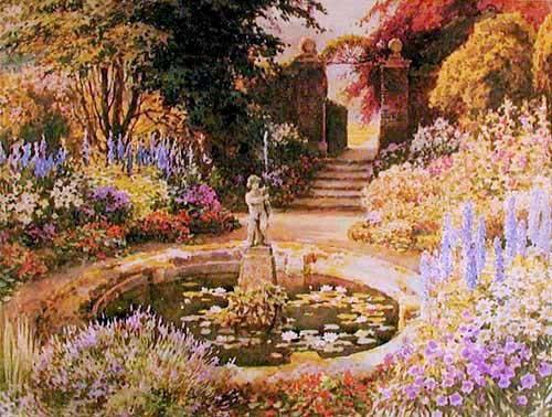 Blumengarten und Springbrunnen