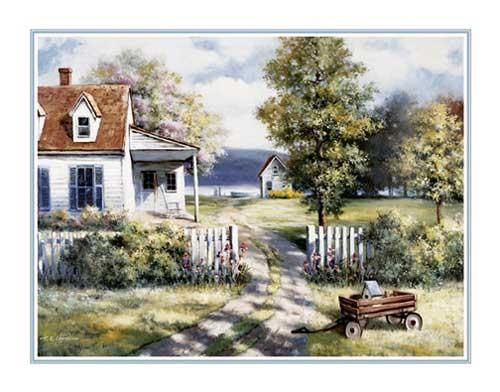 Landhaus mit Wagen, Kunstdruck 56x71