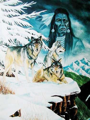 Indianer und Wölfe im Schnee by J.T. Vogtschmidt