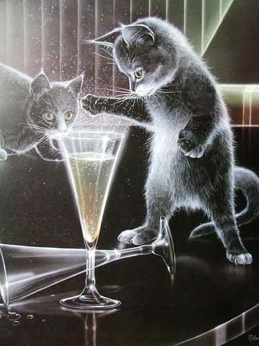 Katzen und Sektglas by H. Wiersma