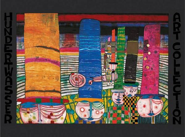Hüte Tragen Kunstdruck von Hundertwasser