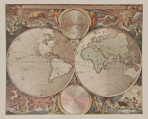Historische Weltkarte von Nicolau Visscher