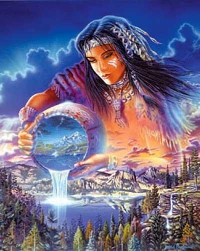 Indianerin, Die Regenmacherin - Alu Bild