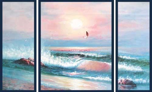 Brandung im Sonnenuntergang II, Triptychon Wandbild