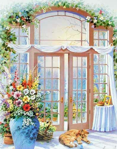 Blumen und französische Tür by Andres Orpinas *