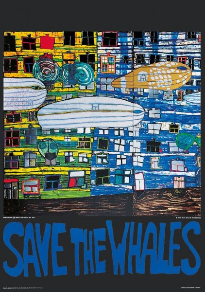 Save the Whales Hundertwasser Kunstdruck