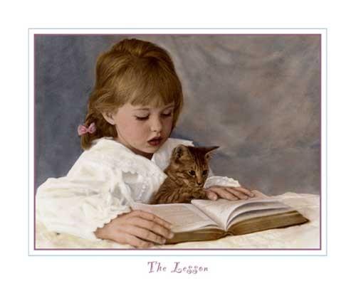 Mädchen mit Katze Kunstdruck 20x25 cm