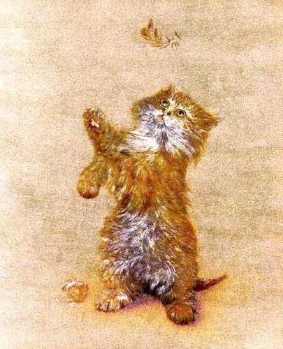 Katze und Feder, gold