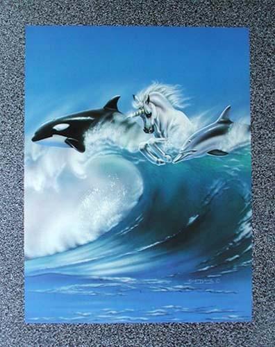 Orka, Einhorn, Delphin auf Welle by Sue Dawe