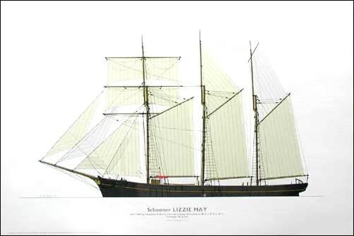 Schooner Lizzie May 1900 by C.V. Waine (Im Druck signiert, Auflage 1000)