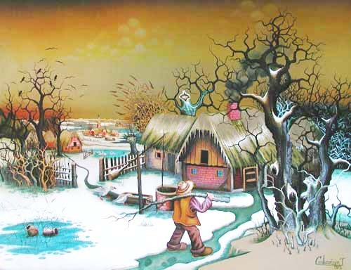Winter auf Bauernhof, Alu Bild