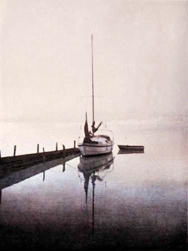 Segelboot am Steg Alu Bild