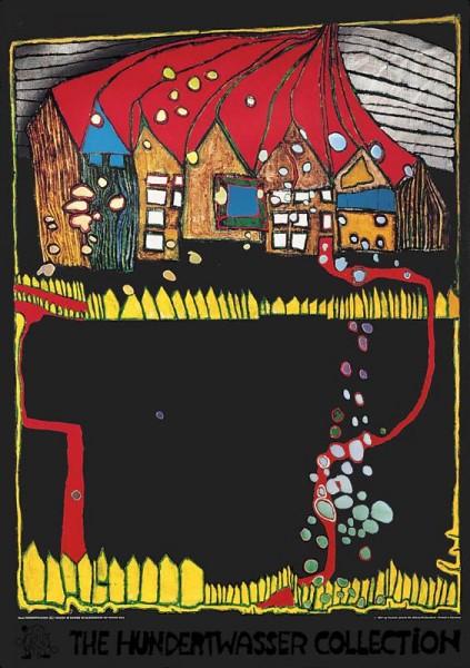 Häuser im Schnee, Hundertwasser Kunstdruck
