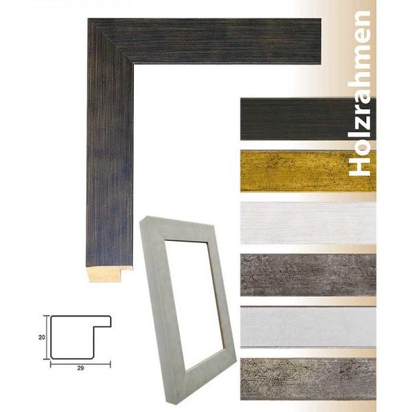Moderner Holzrahmen Frankfurt in Anthrazit, Antiksilber, Altgold, Silber hochglanz