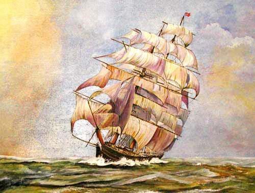 Segelschiff im Querformat Alu Poster