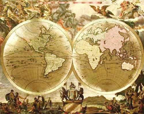 Historische Weltkarte von Ioanna a Loon, Gold- Aluminium Druck